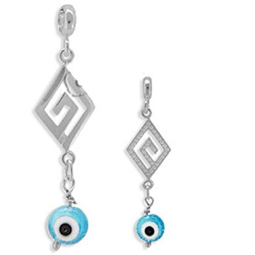 Sterling Silver Greek Pendant - Greek Key Motif w/ Mati Evil Eye (34mm)(Clear Turquoise), Made In (Motif Dangle)
