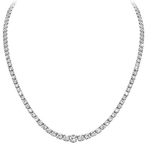 TriJewels AGS Certified Diamond (I1-I2, G-H) Graduated Tennis Necklace 8.00 ctw 14K White Gold