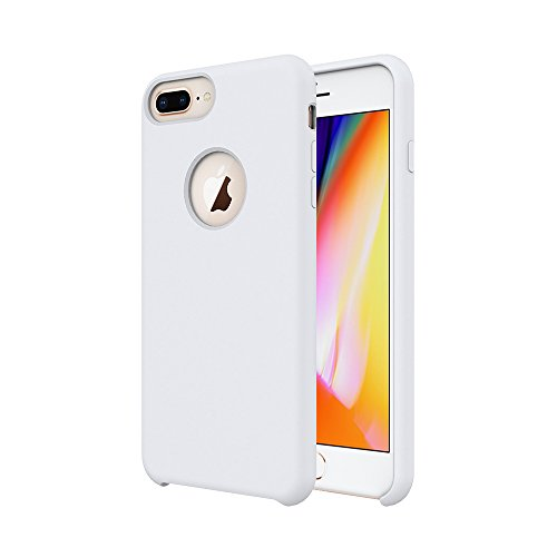 iPhone 8 Plus Case/iPhone 7 Plus Case/iPhone 6 Plus Case, Soft Touch, Comfortable Grip, Slim Fit, Tiamat Liquid Silicone Case with Microfiber Cloth Lining Cushion - White