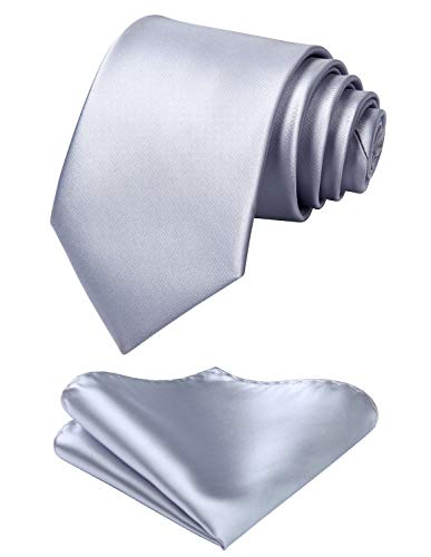 Mens Solid Gray Tie Classic 3.4