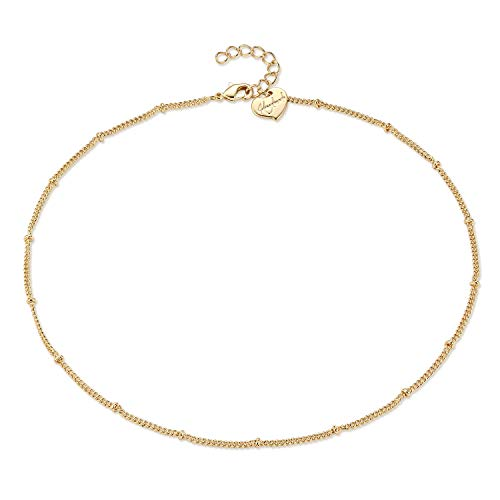 Befettly Womens Beads Choker Necklace Handmade 14K Gold Fill Round Bead Chain -