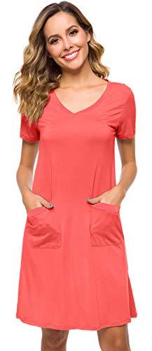 WiWi Womens Bamboo Sleepwear Ladies Nightgowns Short Sleeve Sleep Tee Shirt V-Neck Nightdress with Pockets S-4XL, Peach, Medium