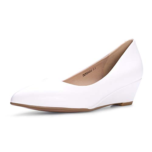 IDIFU Women's IN2 Wedge-LO Classic Low Heel Wedge Pump Closed Pointed Toe Slip on Office Work Shoes (8 M US, White Pu)