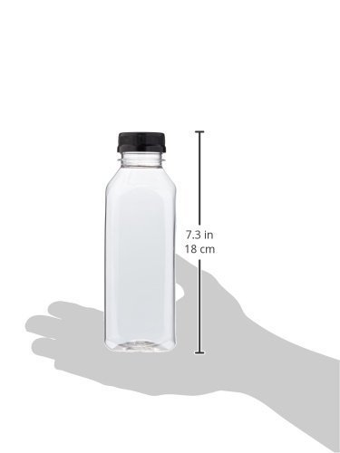 Clear Food Grade Plastic Juice Bottles 16 Oz (Pint) Square with Cap 12/Pack