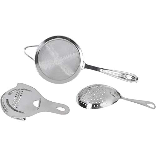 Cocktail Strainer Set: Stainless Steel Hawthorne Strainer, Julep Strainer and Conical Fine-Mesh Strainer by Top Shelf Bar Supply by Top Shelf Bar Supply (Image #5)