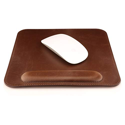 (OTTO Leather Mousepad with Wrist Rest, Dark Brown)