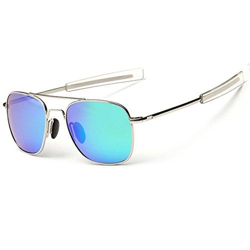 WPF Retro Polarized Sunglasses Aviator Sun Glasses for Men (As Picture, Silver White Frame Green - Temple Sunglasses