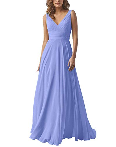 Yilis Double V Neck Chiffon Long Bridesmaid Dress Wedding Evening Party Dress Lavender US10