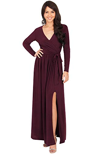 KOH KOH Petite Womens Long Sleeve Sleeves V-Neck Slit Split Cocktail Evening Elegant Wrap Winter Fall Wedding Guest Abaya Muslim Gown Gowns Maxi Dress Dresses, Maroon Wine Red S 4-6