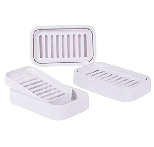 HONYAO Bar Soap Holder Dish for Kitchen, Bathroom, Vanities - Large Double Layer Plastic Soap Saver with Drain - Set of 3, White -