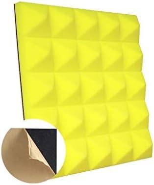 20PCS音響パネル、カラースクエア自己接着高密度屋内録音スタジオ吸音綿 (Color : Yellow)