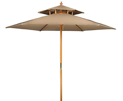 8' Wood 2 Tier Pagoda Style Patio Umbrella by Trademark Innovations (Tan)