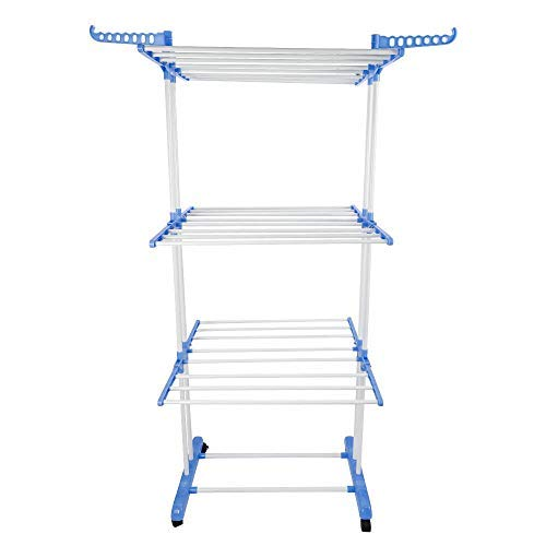 KANING Foldable Clothes Drying Rack,3-Tier Adjustable Stainl