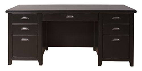 (Martin Furniture Tribeca Loft Double Pedestal Executive Desk, Black)