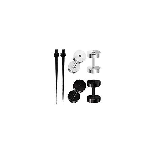 BIG GAUGES 3 Pairs Black Acrylic Anodized Steel 14gauges 1.6 mm Taper Expander Screw Flesh Tunnel Piercing Stretcher Ear Plugs BG6244