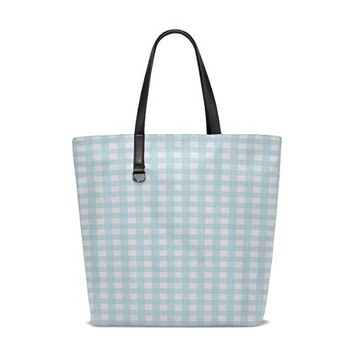 JTMOVING Women Checks Gingham Checked Blue White Checkered Handle Satchel Handbags Shoulder Bag Tote Purse Messenger Bags