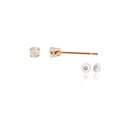 (Genuine 10K Solid Rose Gold 3mm Round Created Opal October Birthstone Stud Earrings)