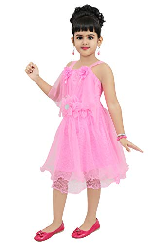 Chandrika Girls midi Knee Length Pink Sleeveless Party Dress