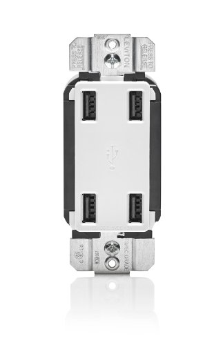 Leviton USB4P-W 4.2-Amp High Speed 4-Port USB Charger, White