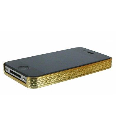 EMPIRE gebürstet Metall mit Luxus Strass Hart Tasche Hülle Cover für Apple iPhone 4/4S–Silber