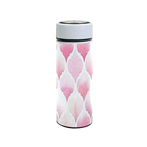 Insulated Water Bottle Morrocan Ornament Pink Colors Stainless Steel Vacuum Thermos Cup Leak Proof Metal Insulated Travel Coffee Mug Sports Flask 12 oz for Women Men Kids Boys Girls