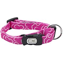 Dogit Style Bones X-Small Adjustable Nylon Collar with Plastic Snap, 3/8-Inch by 6-Inch to 10-Inch, Pink