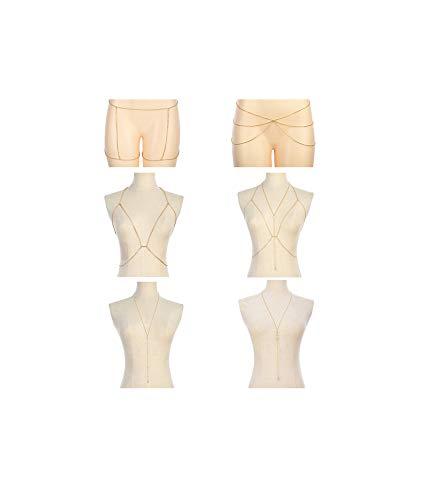 Tornito 6-8Pcs Sexy Belly Waist Chain Bikini Body Chain Summer Beach Body Jewelry Set for Women Gold Tone (A2:6Pcs, Gold Tone)