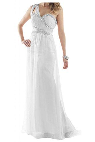 Toscana novia un-hombro de la gasa de alta calidad por la noche vestido de fiesta largo vestidos de bola Prom vestidos blanco