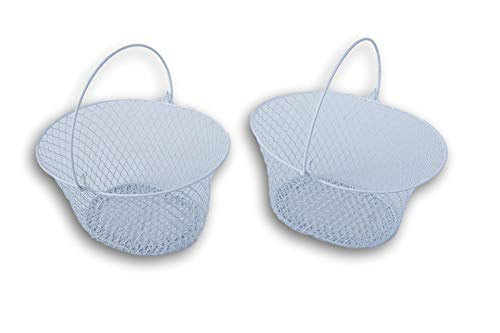 Essentials Small White Oval Base Metal Storage Baskets - Set of 2