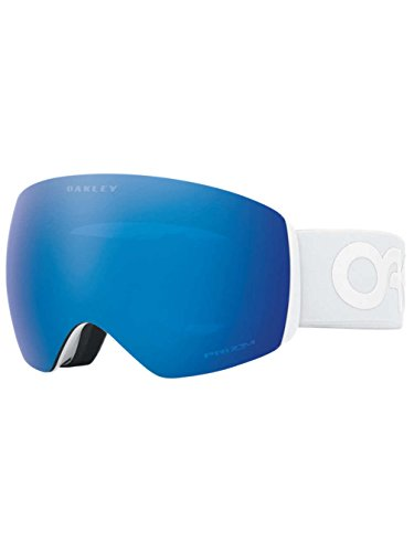 Oakley OO7050-37 Men's Flight Deck Snow Goggles, Matte White, Prizm Sapphire Iridium, Large
