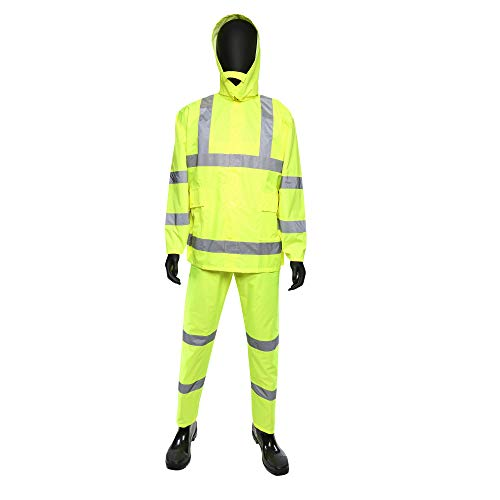 West Chester 4033 XL Hi Vis Rain Suit Class 3, XL, Lime ()