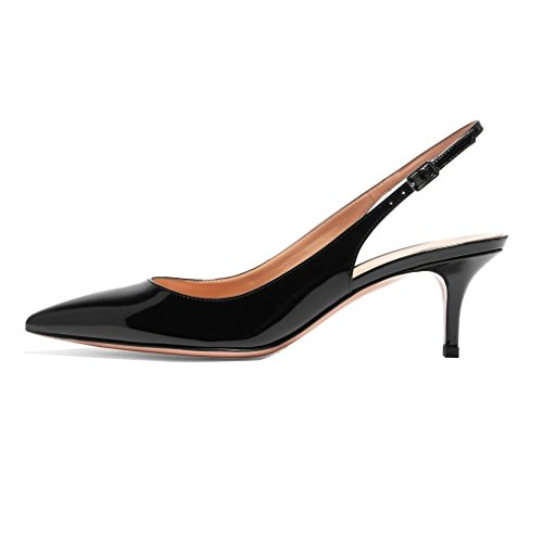 Escarpins 5cm Verni Noir Femme Edefs Traivail Moyen Talon 6 Aiguille Chaussures Mariage Sexy fw5FT