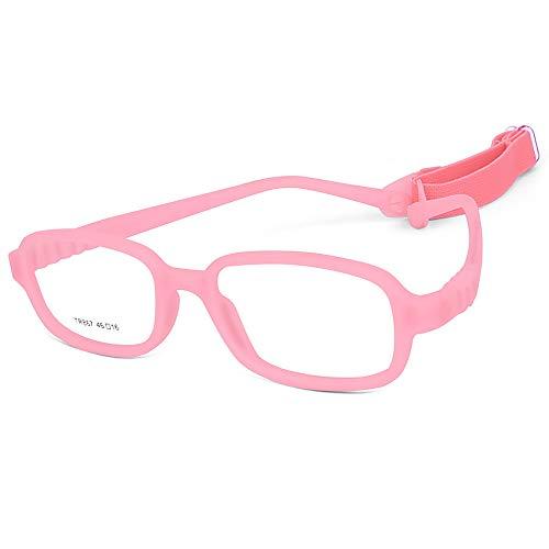 Children Optical Glasses Frame TR90 Flexible Bendable One-piece Safe Eyeglasses Girls Boys Square Pink
