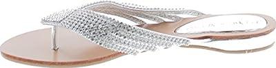 Nature Breeze Kylie 09 Rhinestone Embellished Thong Flat Sandals Silver