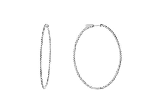 Fronay Co .925 Sterling SIlver Large Inside-Out CZ Oval Hoop Earrings by Fronay Collection