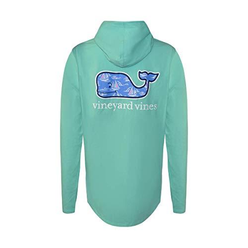 (Vineyard Vines Womens Long Sleeve Hooded Tee Shirt (Capri Blue Sailing Whale, Large))