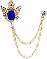 Knighthood Crowned Blue Stone with Hanging Chain Brooch Golden Lapel Pin Badge Coat Suit Jacket Wedding Gift P