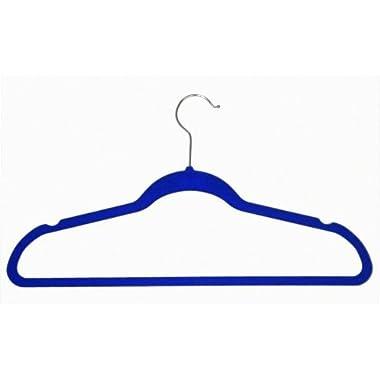 Achim Home Furnishings Velvet Coat Hangers, Blue, 10-Pack