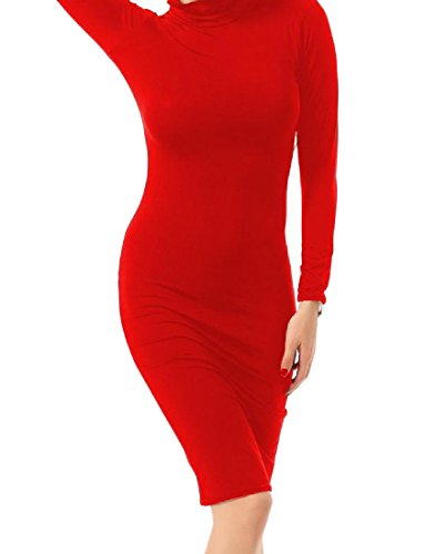 Red Dress Coolred Knee Bodycon Womens Elegant Length Evening Solid Party WBTUW6wnq