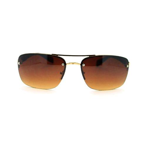 Mens Rimless Rectangular Navigator Sport Euro Fashion Sunglasses - Navigator Gold
