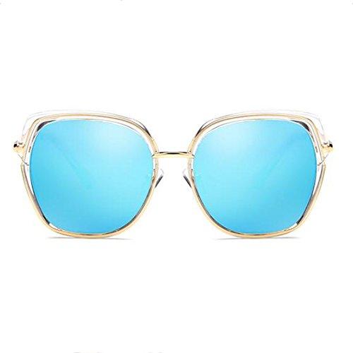 Viaje Marco UV Ice Gafas Color Viaje Gafas Sol Decoración polarizado UVA blue Redondo UVB Ice HLMMM Sra Hombres Sol Blue Retro Europa América de de a7F1qX