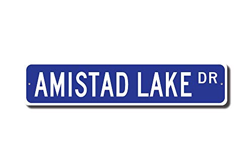 Iliogine Amistad Lake Sign Favorite Lake Amistad Lake Visitor Amistad Lake Gift Texas Lake Street Sign Home Decoration Metal Sign