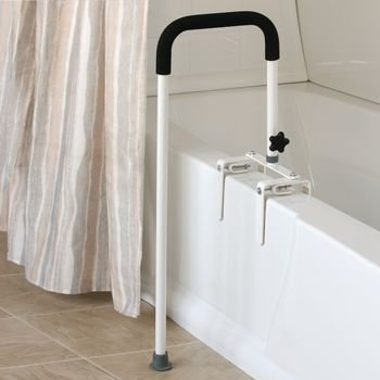 Sammons Preston Floor to Tub Bath Rail, Curved Grab Bar with 200 lbs Capacity for Shower or Bathtub, Rail Clamps and Tightens to Tub Wall, Fits Most Modern Bathtubs, 34'' from Floor to Tub by Sammons Preston