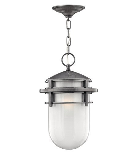 Outdoor Pendant 1 Light With Hematite Translucent Sandblasted Glass Cast Aluminum GU24 9 inch 26 Watts - Sandblasted Pendant Lamp