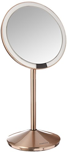 simplehuman 5 inch Sensor Mirror, Lighted Makeup Mirror, 10x Magnification, Stainless Steel - tru-lux light system closely simulates natural sunlight - twice as bright and more color-correct than the next best sensor on/off - automatically lights up as your face approaches 10x magnification - bathroom-mirrors, bathroom-accessories, bathroom - 31hX6zhPB4L -