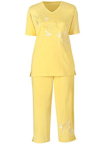 Diagonal Embroidered Capri Set (Cotton Embroidered Knit Pants)