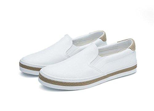 XIE Señora Zapatos Simple Plano Bottom PU Zapatos Casual Ocio Confortable Alumnos Escuela De Compras Blanco Negro, White, 39 WHITE-37
