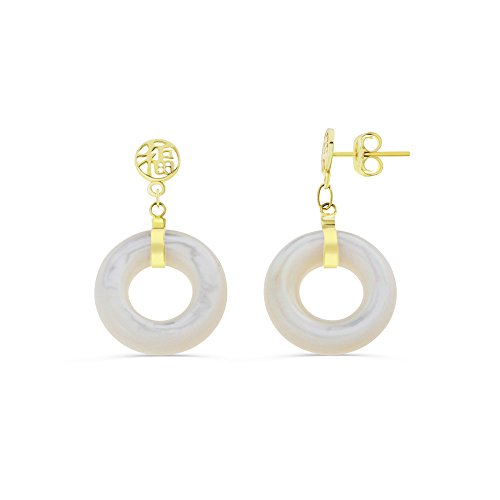 14K Yellow Gold Genuine Natural Mother of Pearl Circular Shaped Lucky Dangling Earrings