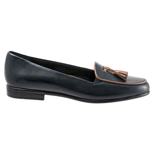 Trotters Navy Leana Burnished Loafer Soft Kidskin Patent tan Women's xqw6pgxZ