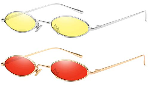 - AOOFFIV Vintage Slender Oval Sunglasses Small Metal Frame Candy Colors